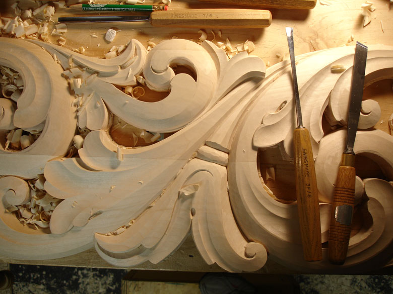 Acanthus Carving by Lusk Scandia Woodworks